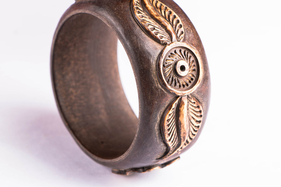 Handcarved Kema Wood Kada Bangle