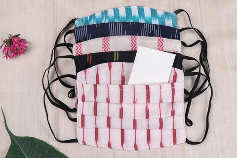 3 Layer Pochampally Ikat Cotton Fabric Pleated Face Cover with Filter Pocket (Set of 5)