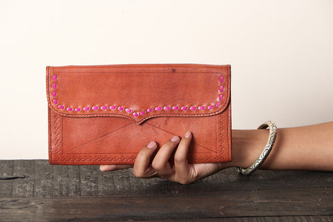 Handcrafted Kutch Leather Three Partitions Clutch Wallet