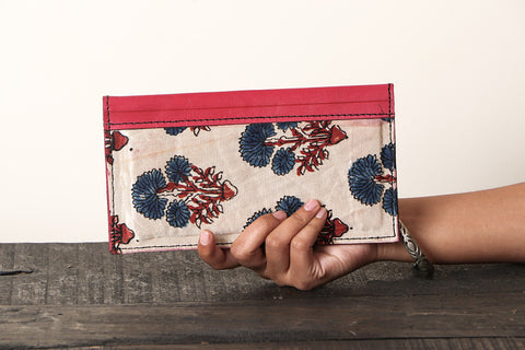 Handcrafted Kutch Leather Mashru Silk Two Fold Clutch Wallet