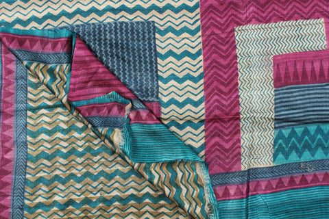 Block Print Pure Tussar Ghhecha Silk Saree with Fall & Pico