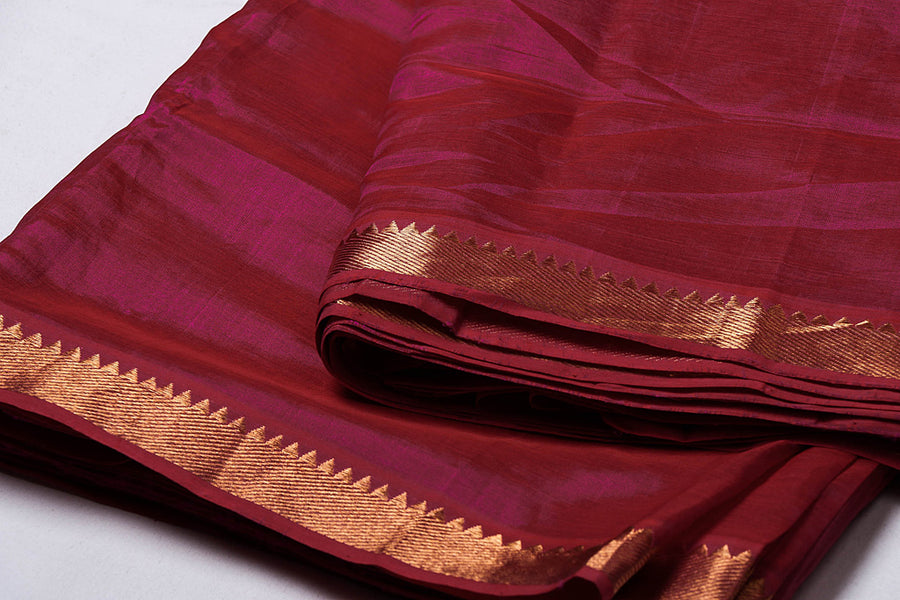 Original Mangalgiri Silk Cotton Zari Border Handloom Fabric