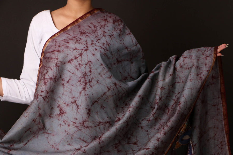 Batik Print Handloom Maheshwari Silk Dupatta with Zari in Indonesian Style