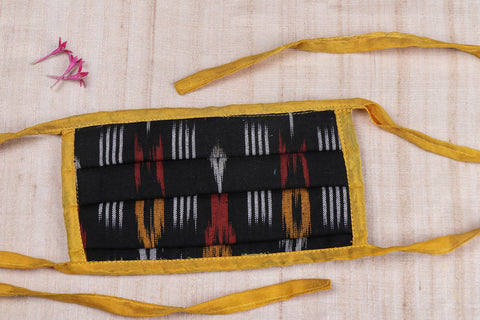 3 Layer Pochampally Ikat Pleated Cotton Fabric Face Cover (With Dori)