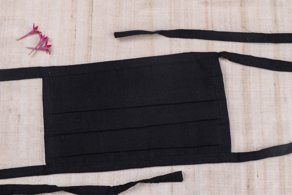 3 Layer Mangalgiri Handloom Cotton Plain Fabric Pleated Face Cover (With Dori)