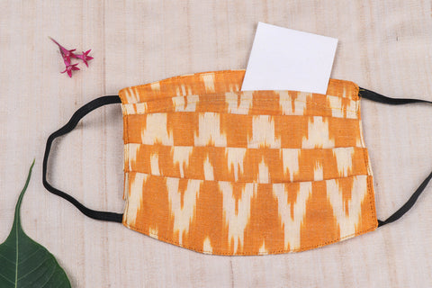 3 Layer Pochampally Ikat Cotton Fabric Pleated Face Cover with Filter Pocket