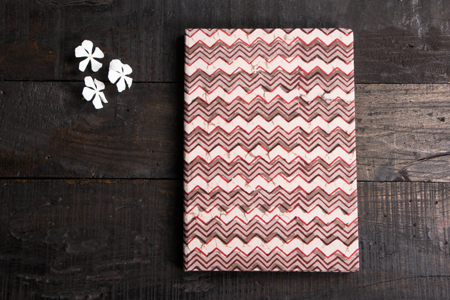 Handmade Bagru Block Print Fabric Cover Diary (12 x 8 inches)