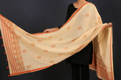 Handwoven Assam Cotton Dupatta with Tassels by Manjuri