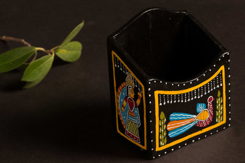 Handpainted Wooden Pen Stand