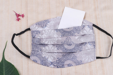 3 Layer Special Jaipur Printed Cotton Fabric Pleated Face Cover with Filter Pocket