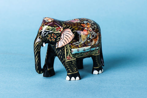 Handcarved Kadam Wood Handpainted Sculpture - Elephant
