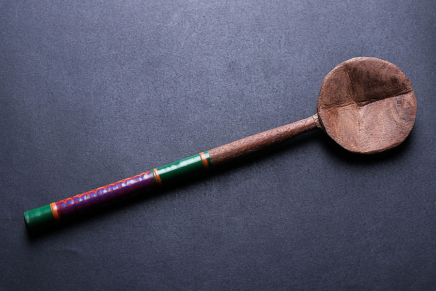 Handmade Lacquered Wooden Ladle Spoon - Small