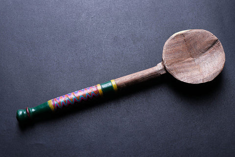 Handmade Lacquered Wooden Ladle Spoon - Medium