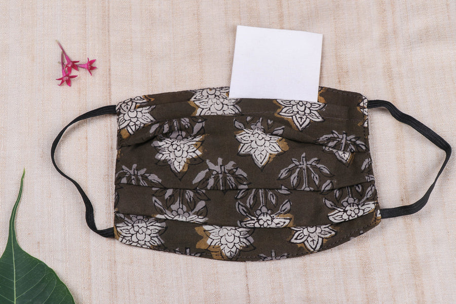 3 Layer Block Print Cotton Fabric Pleated Face Cover with Filter Pocket