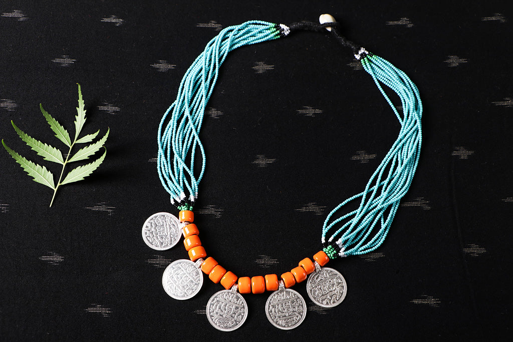 Baiga Tribal Jewelry - Handmade Moti Dana Athani Five Coin Necklace