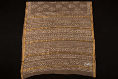 Bagru Block Printed Maheshwari Silk Zari Border Saree