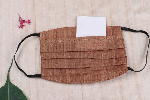 3 Layer Mangalgiri Cotton Fabric Pleated Face Mask with Filter Pocket