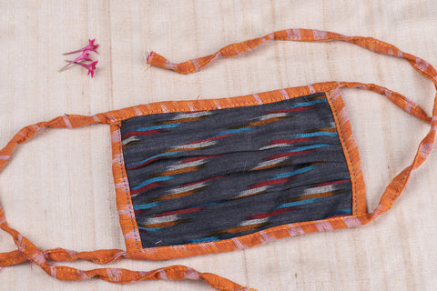 Pleated Pochampally Ikat Cotton Fabric Tie-on Face Mask