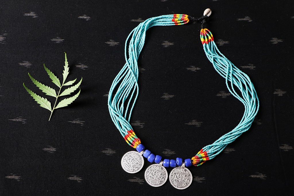 Baiga Tribal Jewelry - Handmade Moti Dana Athani Three Coin Necklace