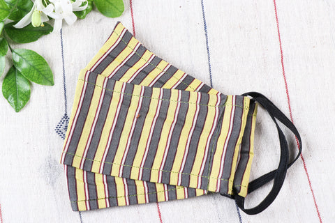 3 Layer Cotton Stripes Fabric Maska Fit Face Cover