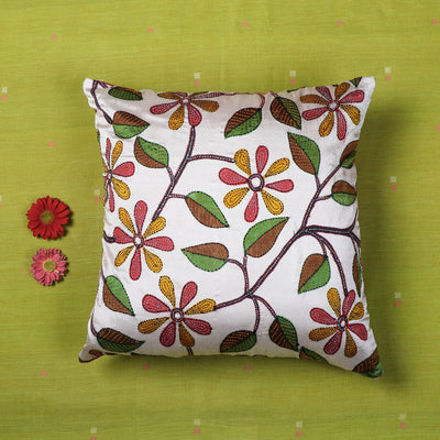 Kantha Hand Embroidered Hand Print Silk Cushion Cover (16 x 16 in)