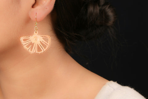 Handcarved Wooden Earring