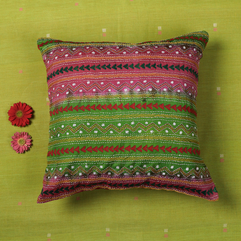 Kantha Hand Embroidered Silk Cotton Cushion Cover (16 x 16 in)
