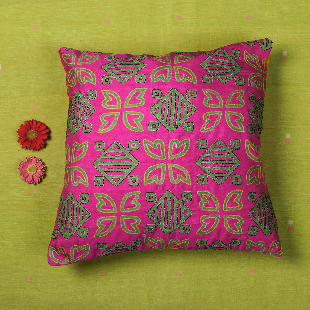 Kantha Hand Embroidered Block Print Silk Cotton Cushion Cover (16 x 16 in)