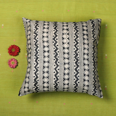 Kantha All Over Hand Embroidered Tussar Silk Cushion Cover (16 x 16 in)
