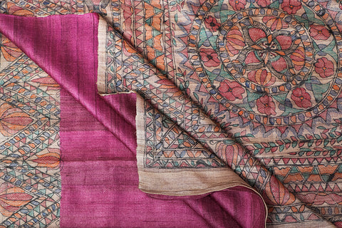 Traditional Madhubani Handpainted Pure Tussar Ghicha Silk Handloom Pink Saree