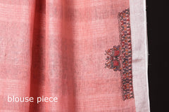 Traditional Madhubani Handpainted Linen Handloom Peach Saree