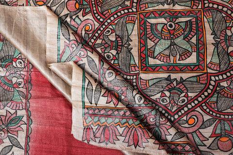 Traditional Madhubani Handpainted Pure Tussar Silk Handloom Red Saree