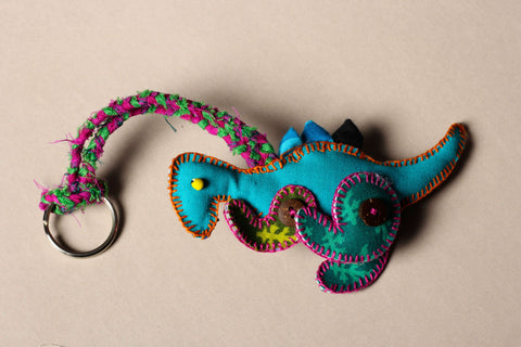 Kantha Stitch Funky Key Chain Dino
