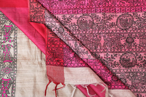 Traditional Madhubani Handpainted Pure Tussar Silk Handloom Pink Border Beige Saree