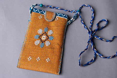 Hand Embroidered Jute Mobile Pouch with Dori