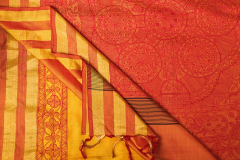Traditional Madhubani Handpainted Pure Uppada Silk Handloom Yellow Saree