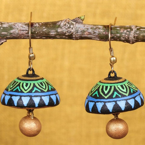 Miniature Handpainted Terracotta Jhumki Earrings