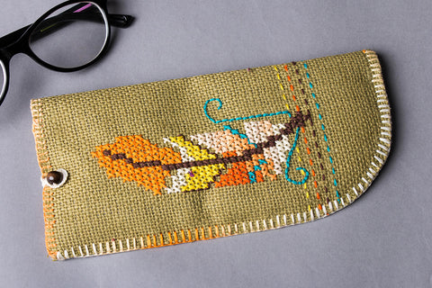Hand Embroidered Jute Spectacle Case