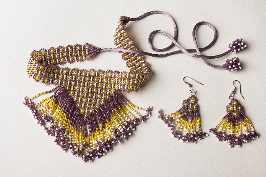 Neemuch Handmade Beadwork Jali Necklace Set by Pushpa Harit