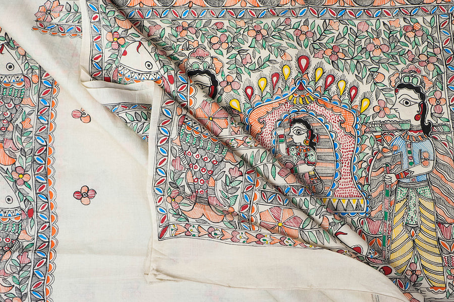 Traditional Madhubani Handpainted Pure Chanderi Silk Handloom White Saree