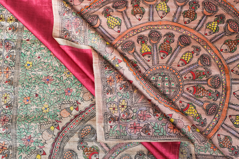 Traditional Madhubani Handpainted Pure Tussar Silk Handloom Beige Saree