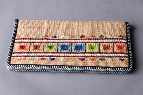 Hand Embroidered Jute Passport Cover