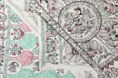 Traditional Madhubani Handpainted Pure Muga Silk Handloom White Kantha Work Saree