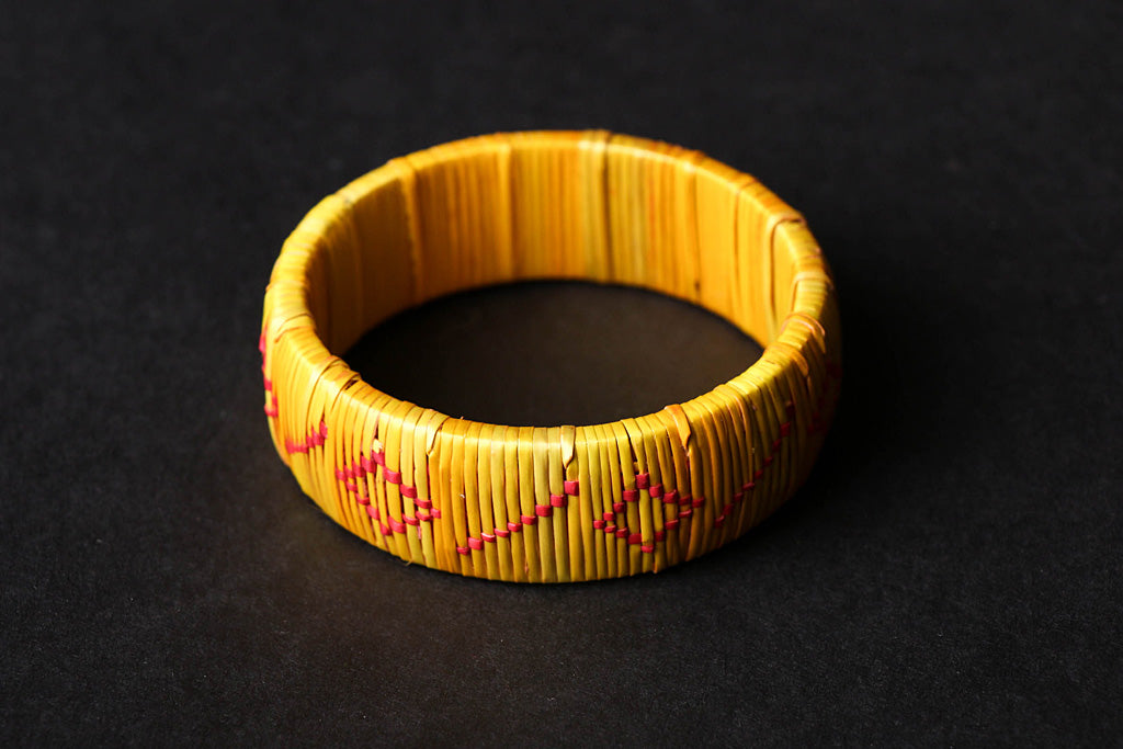 Hand Braided Natural Sikki Grass Kada Bangle (Single)