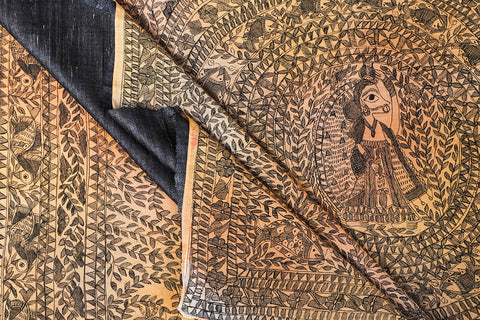 Traditional Madhubani Handpainted Pure Chanderi Silk Handloom Yellow Saree with Tussar Blouse