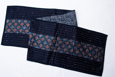 Kutch Tagai Embroidered Patchwork Mashru Silk Table Runner