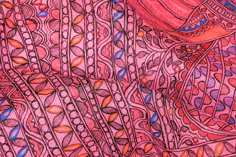 Traditional Madhubani Handpainted Pure Kota Silk Handloom Pink Saree