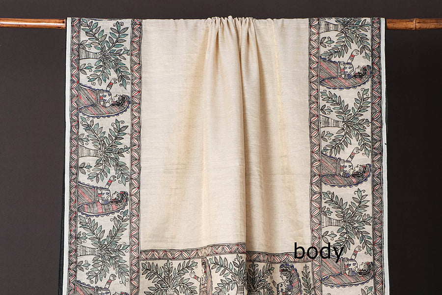 Traditional Madhubani Handpainted Pure Chanderi Tissue Silk Handloom Beige Saree