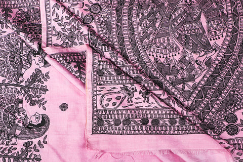 Traditional Madhubani Handpainted Pure Silk Handloom Pink Saree