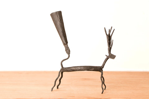 Bastar Tribal Wrought Iron Deer Candle Stand
